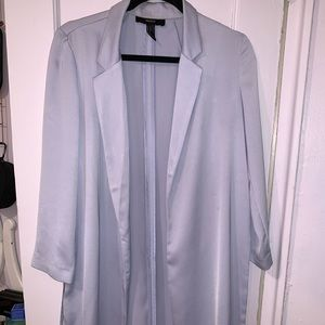 Long blue duster coat